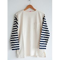 【送料無料】CUSHMAN(クッシュマン)~BORDER SLEEVE BOATNECK TEE WHITE~