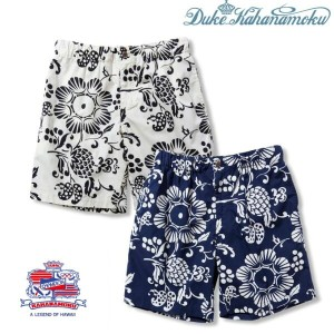 "スーパークールビズ◆Duke Kahanamoku(デューク・カハナモク) ""DUKE'S PINEAPPLE PAREAU"" Beach Short Pants (White) (Navy)..."
