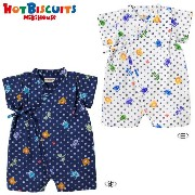MIKIHOUSE hot biscuits 二重織ガーゼ☆昆虫柄ビーンズくん甚平オール☆ :SS-M(50cm-80cm):72-7501-976