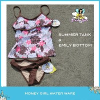 ☆Honey Girl Water Wear☆ハニーガール ウォーターウェア☆made in HawaiiSUMMER TANK & EMILY BOTTOMLOTUS PINK & BROWN/sizeS/hg63