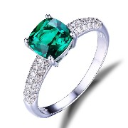 Jewelrypalace 女性 1.58ct クッション カット 人工 緑 ナノ エメラルド 925 スターリング シルバー リング 婚約 結婚...
