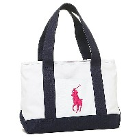 ポロラルフローレン バッグ POLO RALPH LAUREN 950194 SCHOOL TOTE MEDIUM トートバッグ WHITE/NAVY/FUCHSIA PP