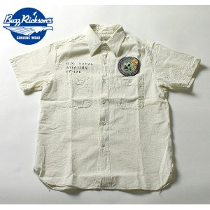 No.BR37326 BUZZ RICKSONS×PEANUTSバズリクソンズ×ピーナッツOFFWHITE CHAMBRAYS/S WORK SHIRT