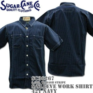 Sugar Cane(シュガーケーン)F/ROMANCE 8.5oz. WABASH STRIPE WORK SHIRT S/Sleeve SC36267-421 Navy
