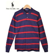 Polo by Ralph Laurn ポロ by ラルフローレン / 長袖 ポロシャツ / ネイビー×レッド ボーダー柄 / メンズS相当【中古】...