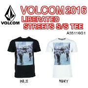 VOLCOM(ボルコム) LIBERATED STREETS S/S TEE A35116G1 BLK WHT Tシャツ 半袖 シャツ メンズ 2016モデル 正規品
