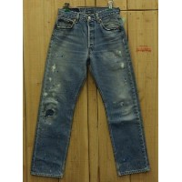 LEVIS リーバイス501 ペイント加工 古着 90S MADE IN USA ダメージジーンズ 中古W29×L28 中古