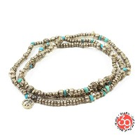 Sunku/39/サンクSK-084 Silver & Turquoise Beads Long Necklace W/Peaceネックレス/ブレスレット/アンクレットSilver925...