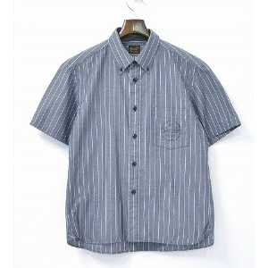 【中古】TENDERLOIN (テンダーロイン) T-WORK SHT S 半袖ストライプワークシャツ GRAY S グレー STRIPE SHIRTS SHORT B.D BOTTON DOWN...