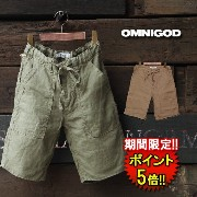 【OMNIGOD】 LINEN WORK EASY SHORTS (55-046) Men's 2color □ 05P03Dec16