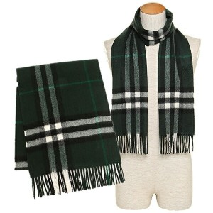 バーバリー マフラー BURBERRY 3994117 3770B GIANT CHECK CASHMERE SCARF カシミア100% 30×168cm DARK FOREST GREEN