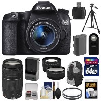 Canon EOS 70D デジタル SLR Camera & EF-S 18-55mm IS STM レンズ with 75-300mm レンズ + 64GB Card + バッテリー & Charger + バックパ...