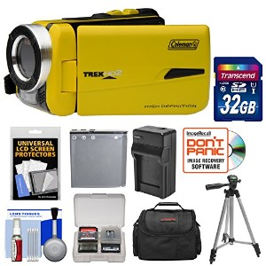Coleman CVW20HD 防水 HD デジタル ビデオ Camera Camcorder (Yellow) with 32GB Card + バッテリー + Charger + ケース +...