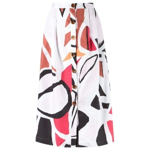 Andrea Marques - printed midi skirt - women - コットン - 36