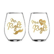 "Fifth Avenue Crystal ""Mr. Right"" and ""Mrs. Always Right"" Stemless Wine Glasses set of 2 /ペアワイングラスグラス..."