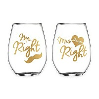 """Fifth Avenue Crystal """"Mr. Right"""" and """"Mrs. Always Right"""" Stemless Wine Glasses set of 2 /ペアワイングラスグラス..."""