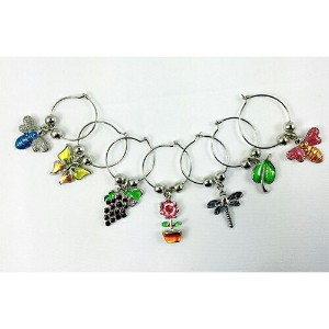 Opto Flower & Insects Wine Glass Charms, Set of 7/オプト フラワー アンド インセクト ワイングラスチャーム 7個セット!