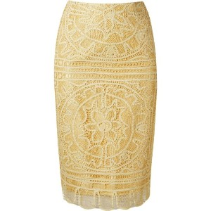 Martha Medeiros - 'renascença' lace pencil skirt - women - コットン - 42