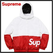 S 白/赤 WHITE/RED【Supreme 16AW Side Logo Parka シュプリーム サイドロゴパーカー ジャケット】