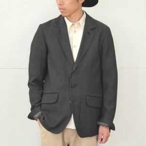 FRANK LEDER(フランクリーダー)/ GREY/BLACK HERRINGBONE WOOL JACKET +FISH SKIN -(99)BLACK-