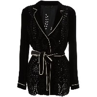 Alberta Ferretti - perforated detailing belted jacket - women - シルク/コットン/アセテート/other fibers - 42