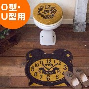Cozydoors トイレ2点セット Eleven o'clock 普通フタカバー&トイレマット ( トイレ フタカバー トイレマット トイレタリー セット トイレカバー マット トイレタリーセット...