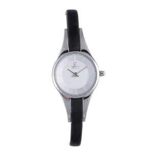 オバック レディース 腕時計 Obaku By Ingersoll Ladies Silver Dial Black Leather Strap Watch V110LCIRB