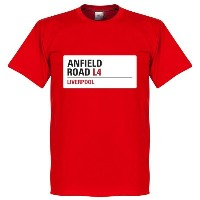 ★SALE★セール★RE-TAKE(リテイク) リバプール Anfield Road Sign Tシャツ(レッド)【サッカー サポーター グッズ Tシャツ】