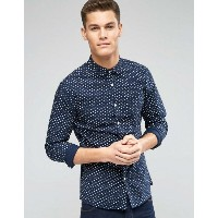 ASOS エイソス Skinny スキニー Shirt シャツ with Ditsy Print in Navy with Long Sleeves