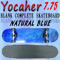 YOCAHER コンプリートスケートボード/スケボー BLANK COMPLETE SKATEBOARD NATURAL BLUE 7.75 スケボー 完成品 SK8