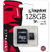 Kingston Digital 128GB microSDXC Class 10 UHS-I 45MB/s Read Card with SD Adapter (SDC10G2/128GB) ...