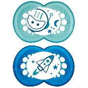 MAM Night Glow in the Dark Silicone Pacifier, Boy, 6 Plus Months, 2-Count by MAM [並行輸入品]