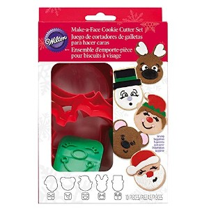 Plastic Cookie Cutter Set 10/Pkg-Christmas Faces