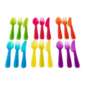 Ikea Kalas 901.929.62 18-Piece BPA-Free Flatware Set, Multicolored by Ikea