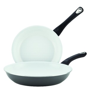 Farberware Purecook Ceramic Nonstick Cookware Twin Pack Skillets, 9-1/4'/11-1/2', Gray [並行輸入品]