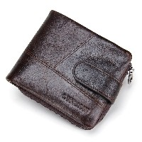 Contacts Mens Genuine Leather Pocket Wallet Zip Coin Pocket Dark Brown