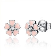 Bamoer S925 Pink Cherry Blossom Silver Pierced Earrings 桜の花 チェリーブロッサムシルバーピアス クリア色CZ付
