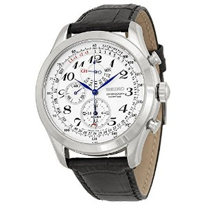 セイコー Seiko Men's SPC131P1 Neo Classic Alarm Perpetual Chronograph White Dial Black Leather Strap...