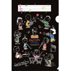 SNOOPY WITH MUSIC BAND COLLECTION スヌーピー メモリング ファイル 5枚セット (ブラック)