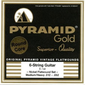PYRAMID Gold Chrome Nickel Flatwounds On Round Core Medium(12-52) ピラミッド エレキギター弦【国内正規品】