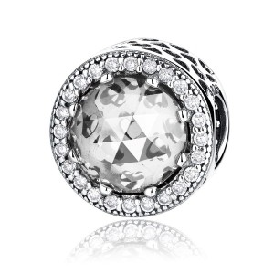 WOSTU クリアCZ付スターリングシルバーチャームビーズ S925 レディース The Clear CZ(Cubic Zirconia Stone)Sterling Silver Charm