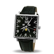 Davis-1730 トリプル日付とムーンフェイズメンズスクエア腕時計 Mens Square triple date and Moonphase watch-Black dial-Black...