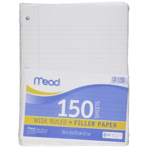 """Filler Paper 8""""X10.5"""" Three Hole Punched 150/Pkg-Wide Ruled White (並行輸入品)"""