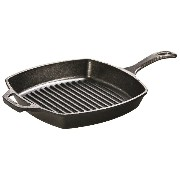 Lodge L8SGP3 Pre-Seasoned Cast-Iron Square Grill Pan, 10.5-inch [並行輸入品]