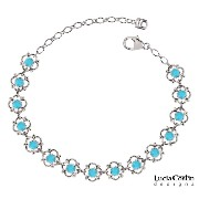 Lucia Costin .925 Sterling Silver Flower Bracelet Designed with 4 Petal Flowers Surrounded by Dots...