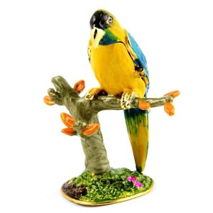 Objet D'Art トリンケットボックス リリースNo160「The Blue Throated Macaw」アオキコンゴウインコの宝石箱