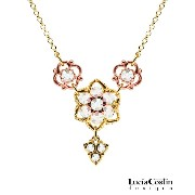European Style 24K Yellow and Pink Gold over .925 Sterling Silver Necklace by Lucia Costin with...