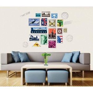 who's storeウォールステッカー Wall stickers 切手 北欧 風景 建物 オリジナル リビング 貼ってはがせる