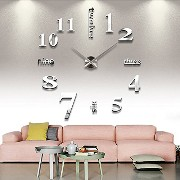 Chinatera DIY Large Wall Clock 3D Mirror Sticker Big Watch Home Decor Unique Gift by Chinatera