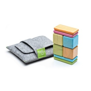 8 Piece Tegu Pocket Pouch Magnetic Wooden Block Set, Tints [並行輸入品]